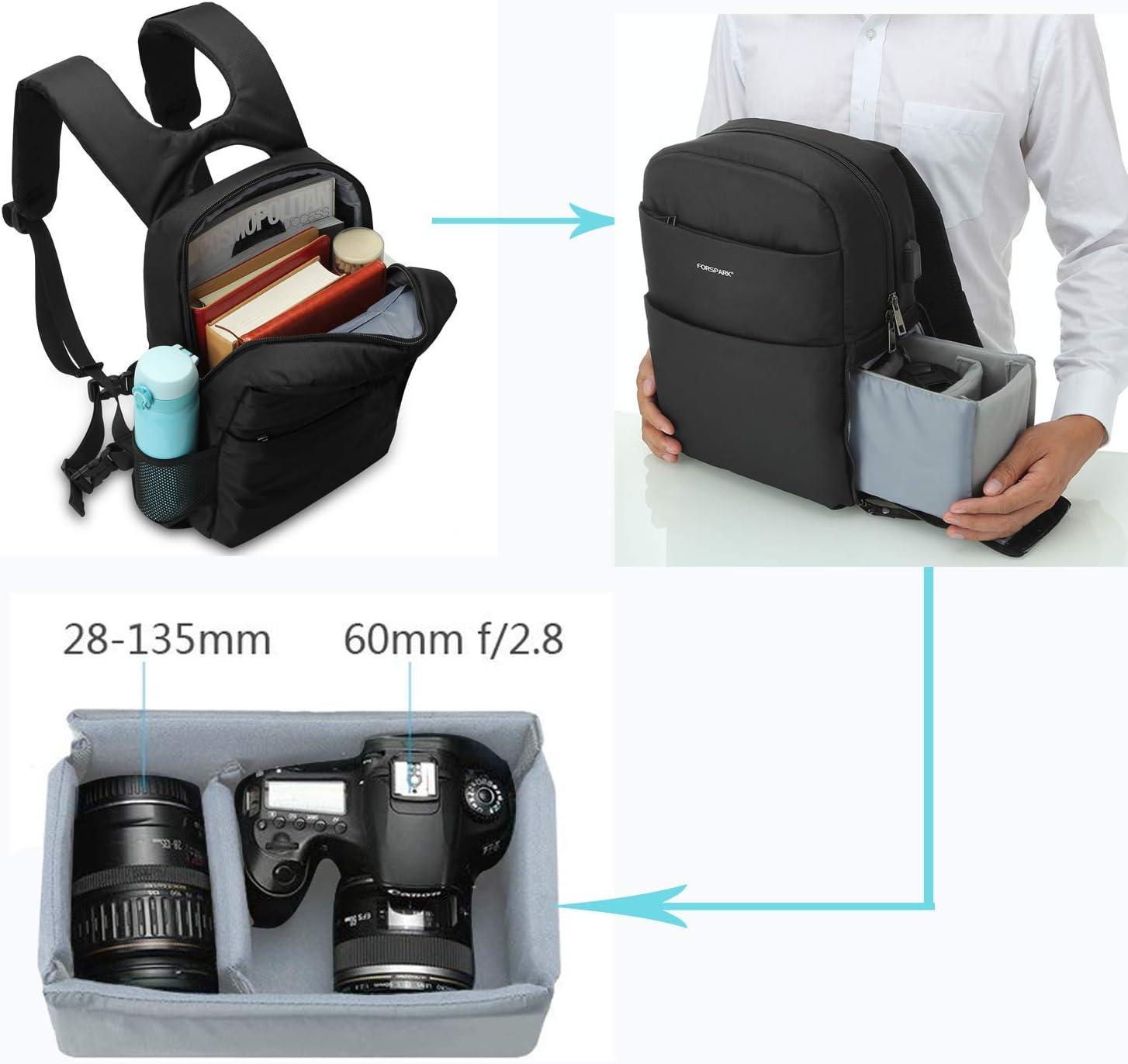 multifunzione per computer portatili zaino per fotocamera con copertura impermeabile antipioggia tablet FORSPARK Canon Nikon colore: nero zaino per fotocamera DSLR accessori per fotocamera