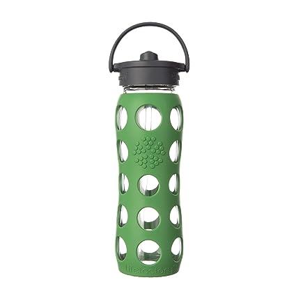 Lifefactory 16oz Glass Bottle with Straw Cap-Lilac 6.99x6.99x25.4 cm