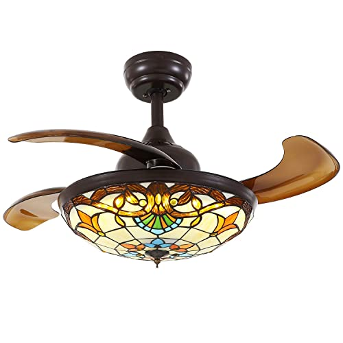 Moooni 36 Mediterranean Style Ceiling Fans with Light and Remote Tiffany Invisible Chandelier Fans with Retractable Blades Dimmable LED Light Indoor Ceiling Fan Light Kit Brown