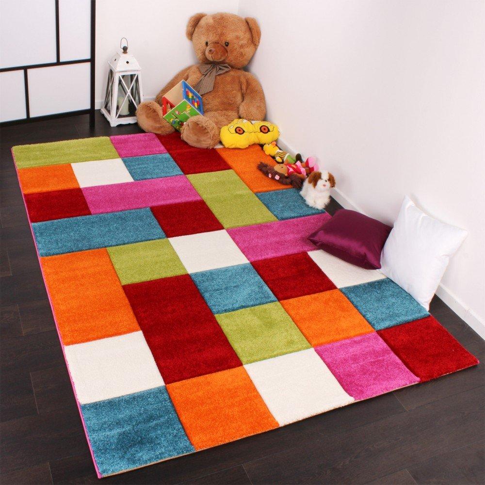 Kinder Teppich Karo Design Multicolour Grün Rot Grau Schwarz Creme ...
