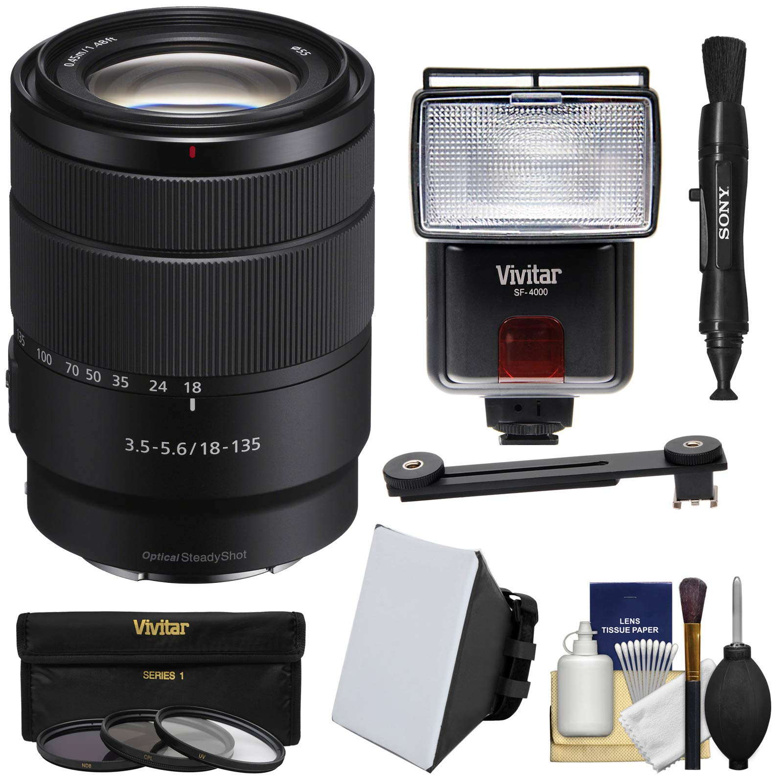 Sony Alpha E-Mount 18-135mm f/3.5-5.6 OSS Zoom Lens with 3 UV/CPL/ND8 Filters + Flash + Soft Box + Lens Pen + Kit by Sony
