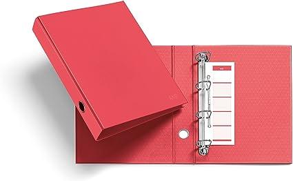 Miquelrius 20922 - Archivador nordic colors (cartón, 4 anillas tipo d de 40 mm diámetro) color coral: Amazon.es: Oficina y papelería