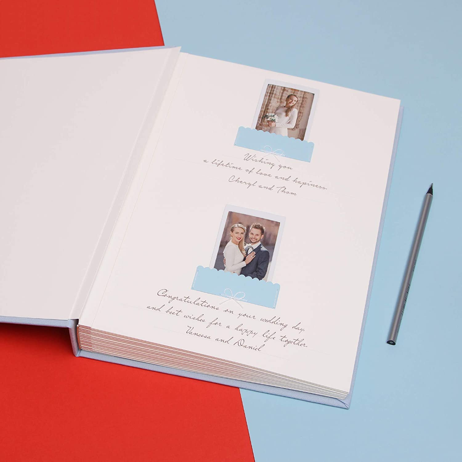 Photo guestbook Circle Light blue Guest Book Instax Mini Wide Photo Album Guest book With Photo Pockets by Liumy
