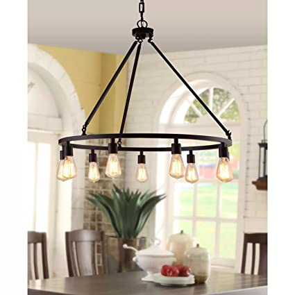Rustic chandelier centerpiece with bulbs for high and low ceiling rooms circular light fixture with industrial accents creates modern farmhouse feel