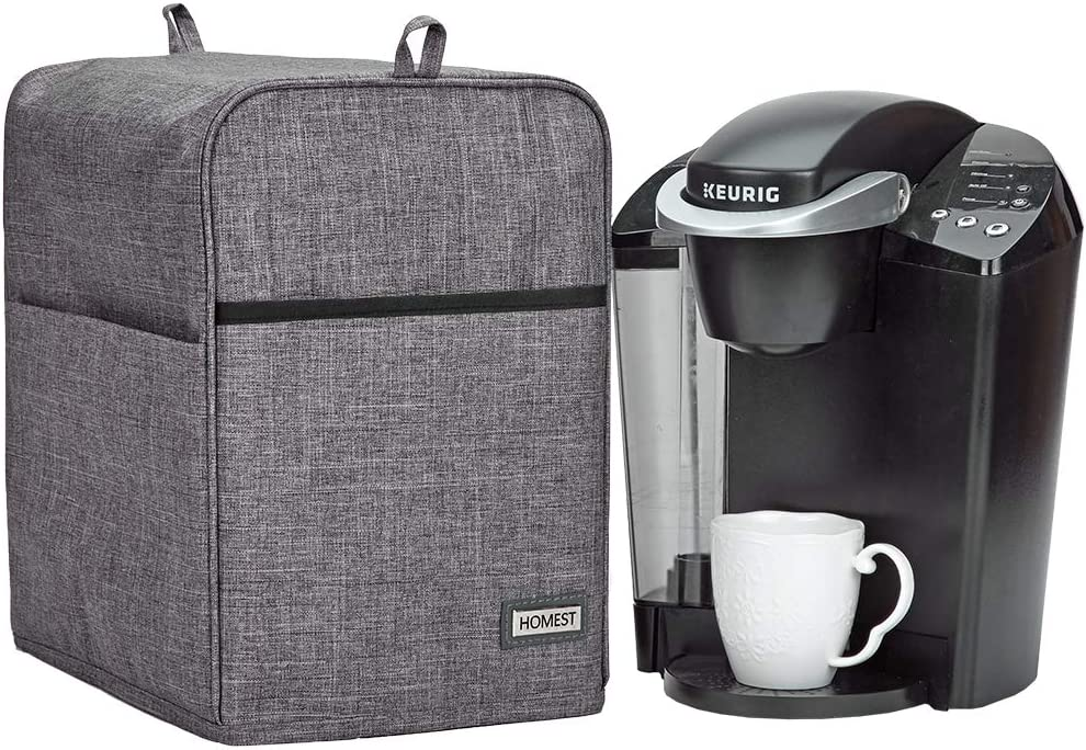 HOMEST Dust Cover Compatible with Keurig Coffee Maker, Single Serve Coffee Makers Cover with Storage Pockets for K Cup, Grey (Patent Pending)