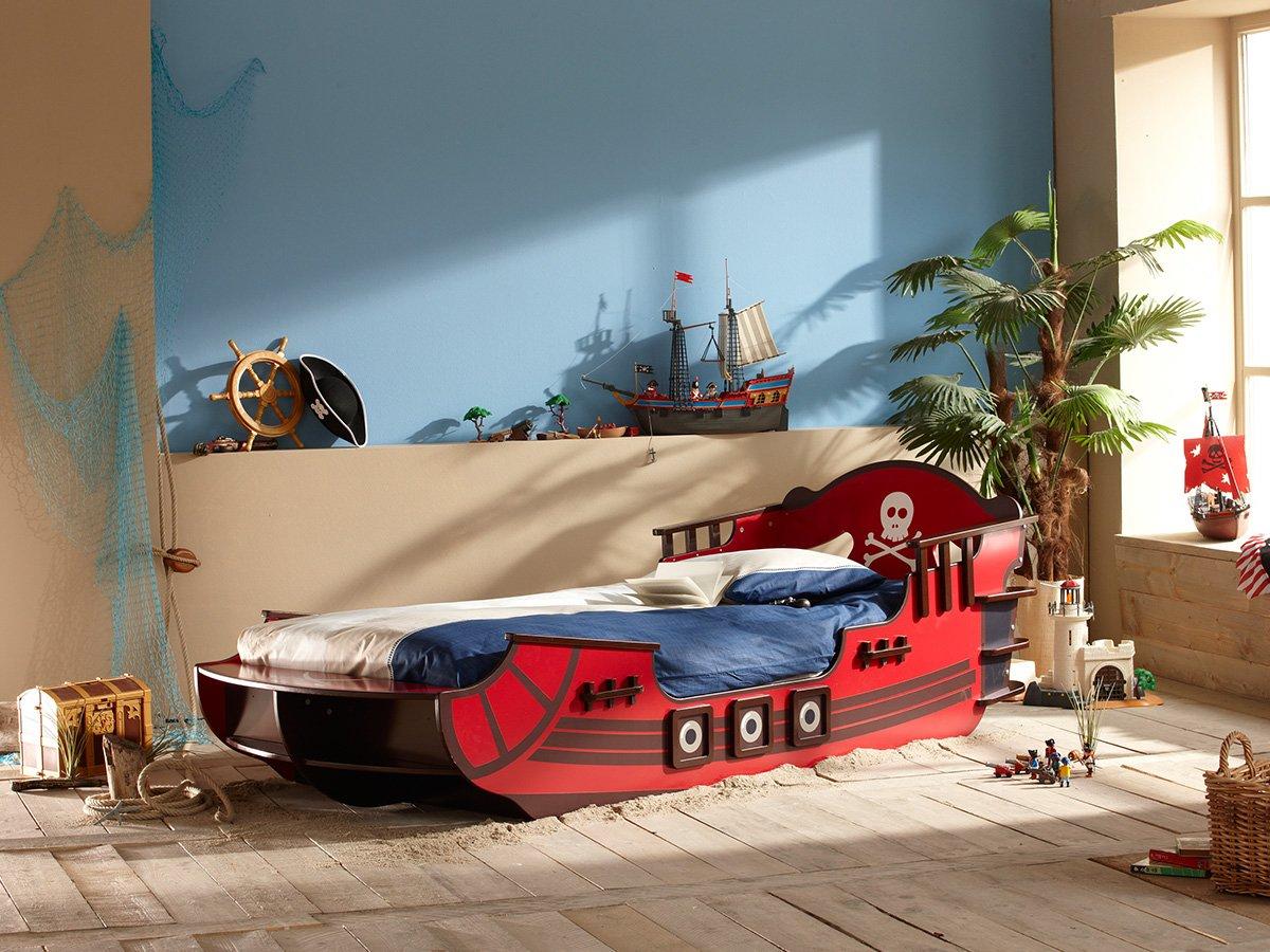 Piratenbett Kinderbett Piraten Seeräuber Boot Schiff Bett Rot Crazy Shark