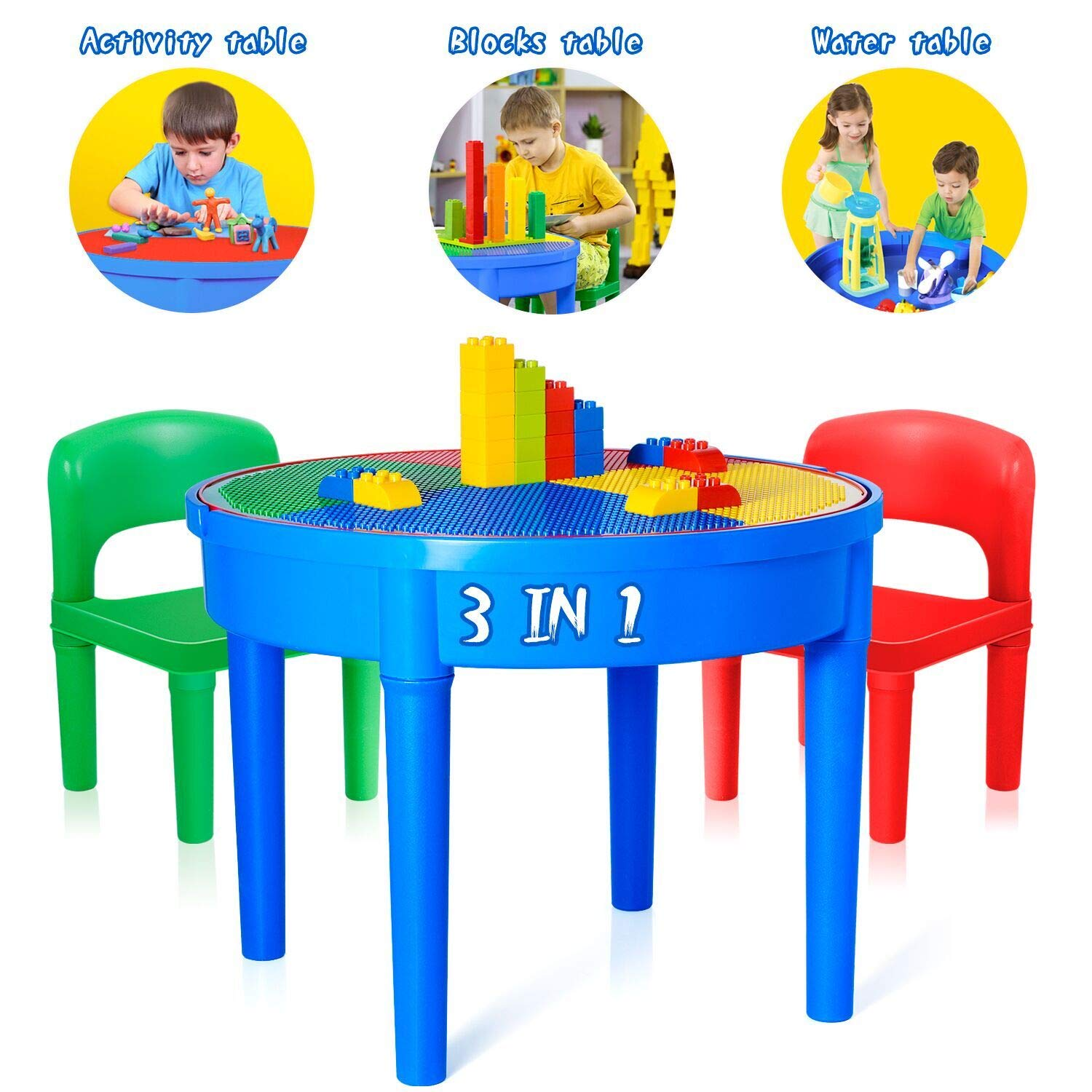 Exercise N Play Kids Activity Table Set - 3 in 1 Round Water Table, Craft Table and Building Brick Table with Storage - Includes 2 Chairs and 25 Jumbo Bricks by EP EXERCISE N PLAY