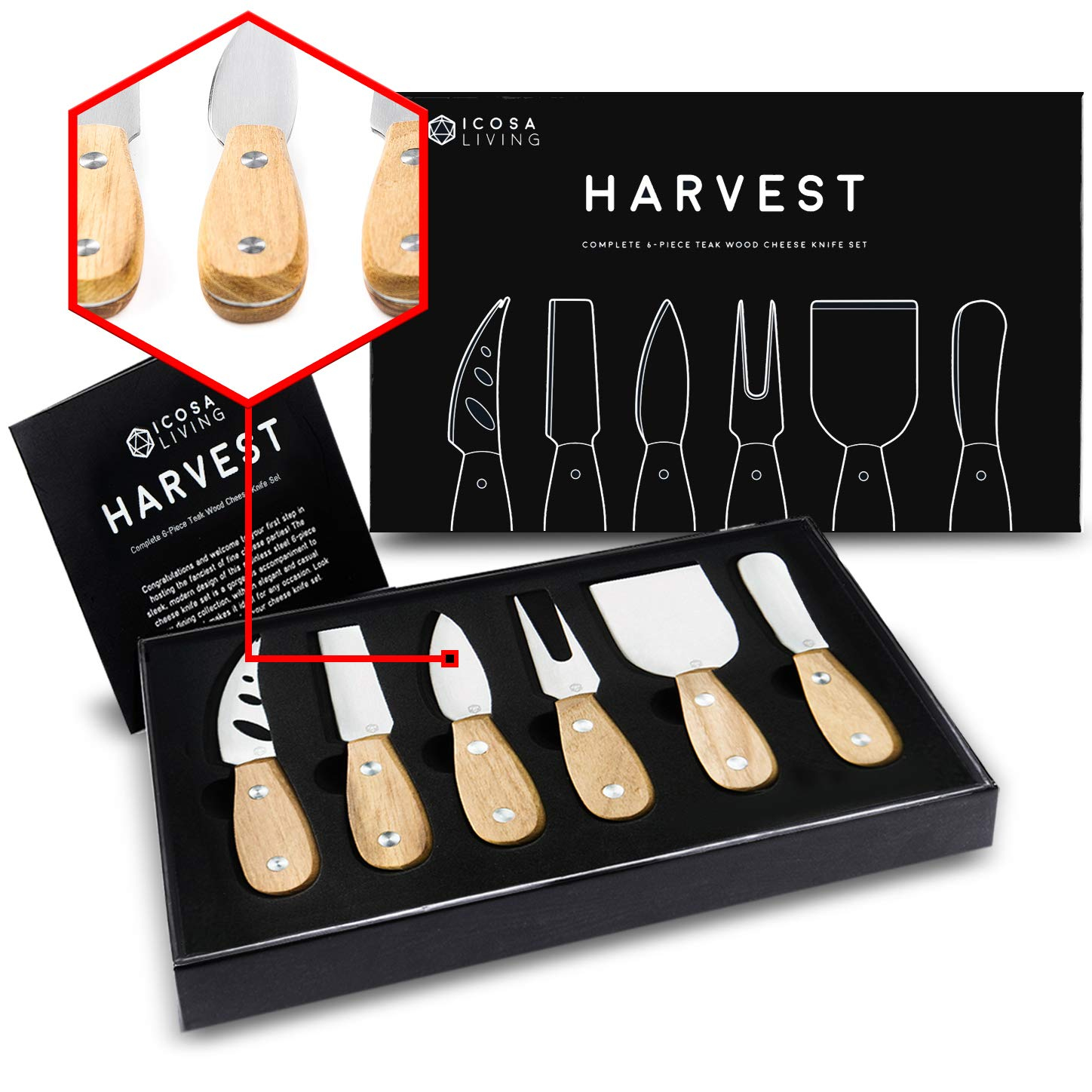 HARVEST Premium 6-Piece Cheese Knife Set - Complete Stainless Steel Cheese Knives Collection with Teak Wood Handles and Full-Length Blades (Gift-Ready) by ICOSA Living