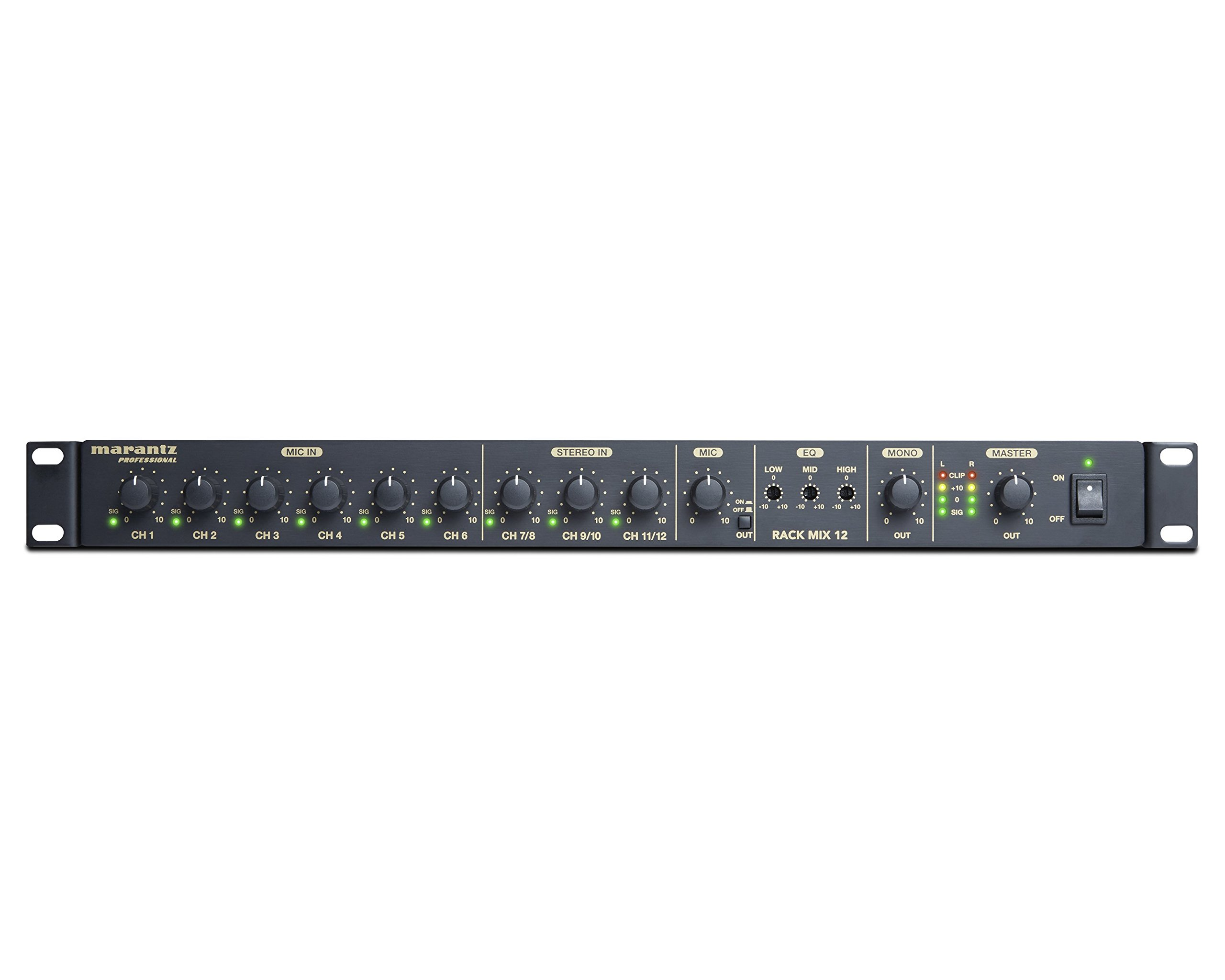 Marantz Professional Rack Mix 12 | Slim 12-Channel Line Audio Mixer with Priority Control