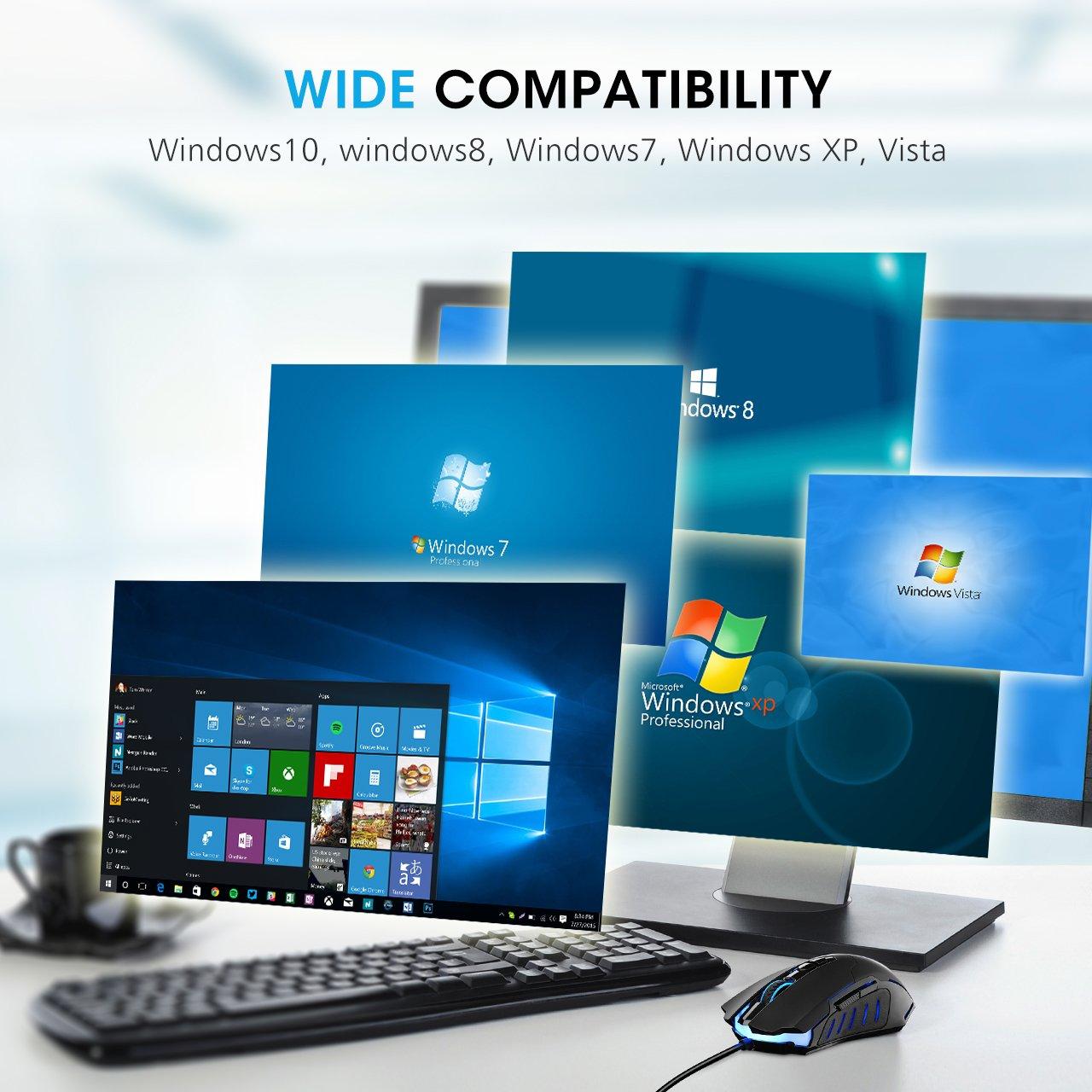 PICTEK Gaming Mouse Wired [7200 DPI] [Programmable] [Breathing Light] Ergonomic Game USB Computer Mice RGB Gamer Desktop Laptop PC Gaming Mouse, 7 Buttons for Windows 7/8/10/XP Vista Linux, Black by PICTEK (Image #7)