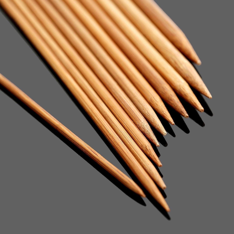 Dophee 55Pcs 11sizes 5 13cm Double Pointed Carbonized Bamboo Knitting Needles