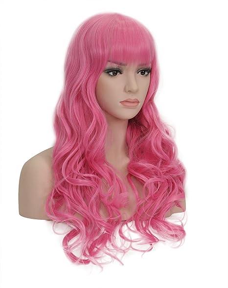 "New Rainbow Series 25 ""pelucas onduladas cosplay peluca llena de pelo rosa peluca Anime"