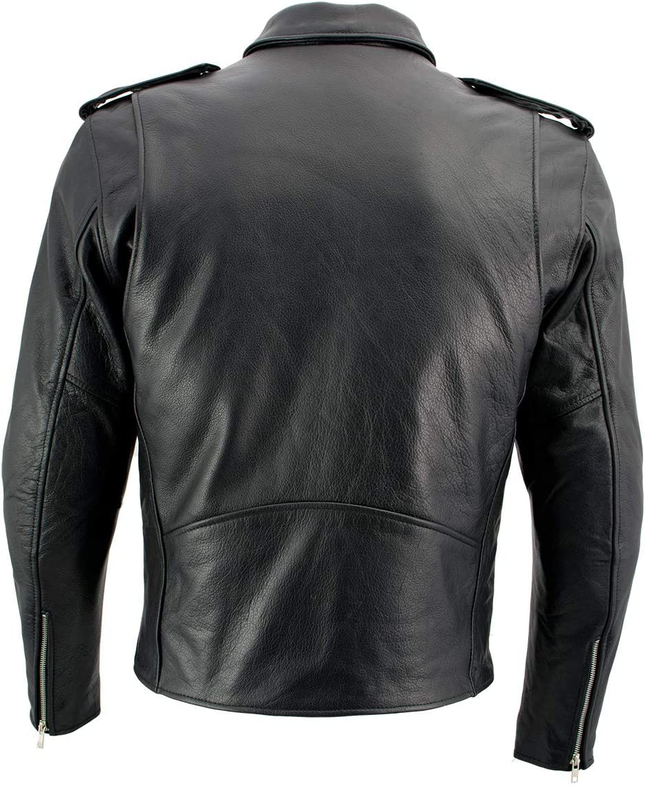 Xelement B7210 Thick  Black Cowhide Leather Classic Biker  Motorcycle Jacket
