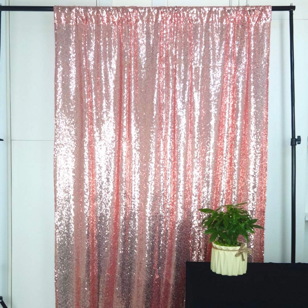 HeMiaor 8ftx8ft Rose rose gold sparkly wedding party Sequin Backdrop Sequin Curtain