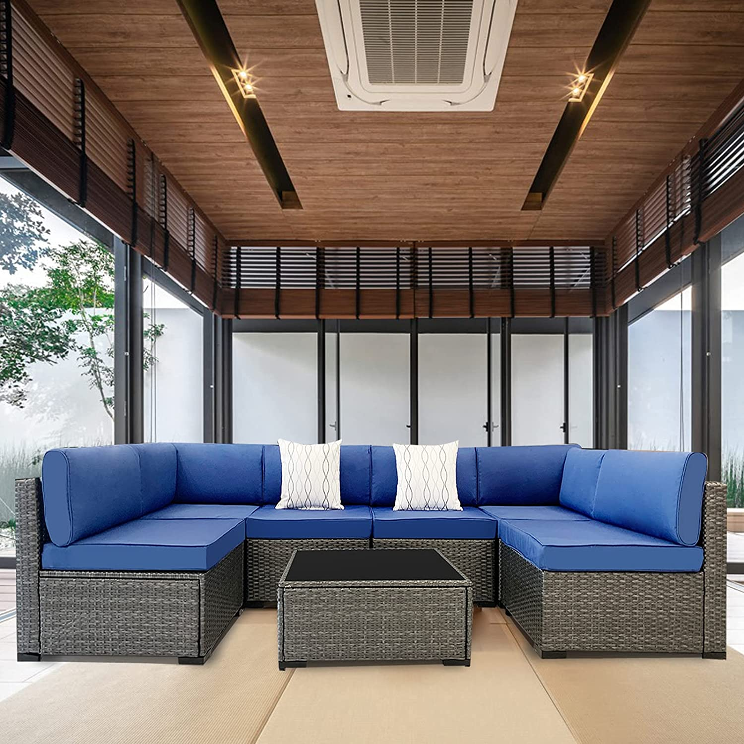 VisHomeYard 7 Pieces Outdoor Patio Furniture Set All Weather PE Rattan Sofa Chair Set Outdoor Sectional Wicker Conversation Sofa Sets with Cushions and Glass Table (Blue)