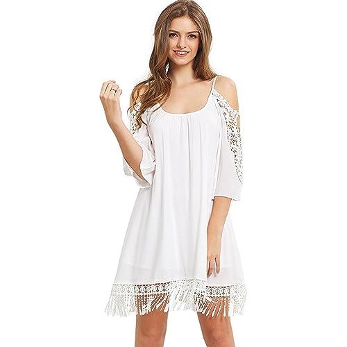 Long White Flowy Beach Dresses
