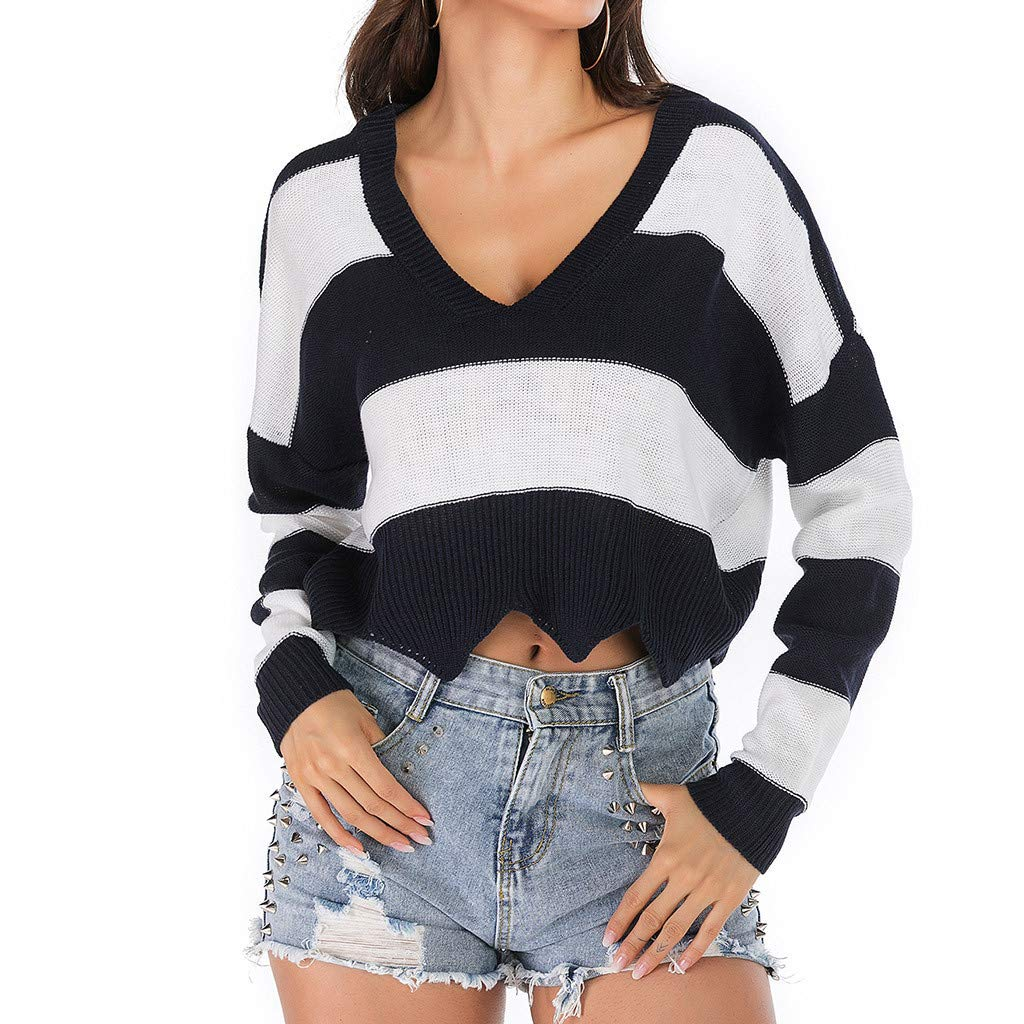 Gocheaper Fashion Women Casual V-Neck Stripe Long Sleeve Knitted Cut Out Bandage Tops(Black,L=US: 10) by Gocheaper Tops