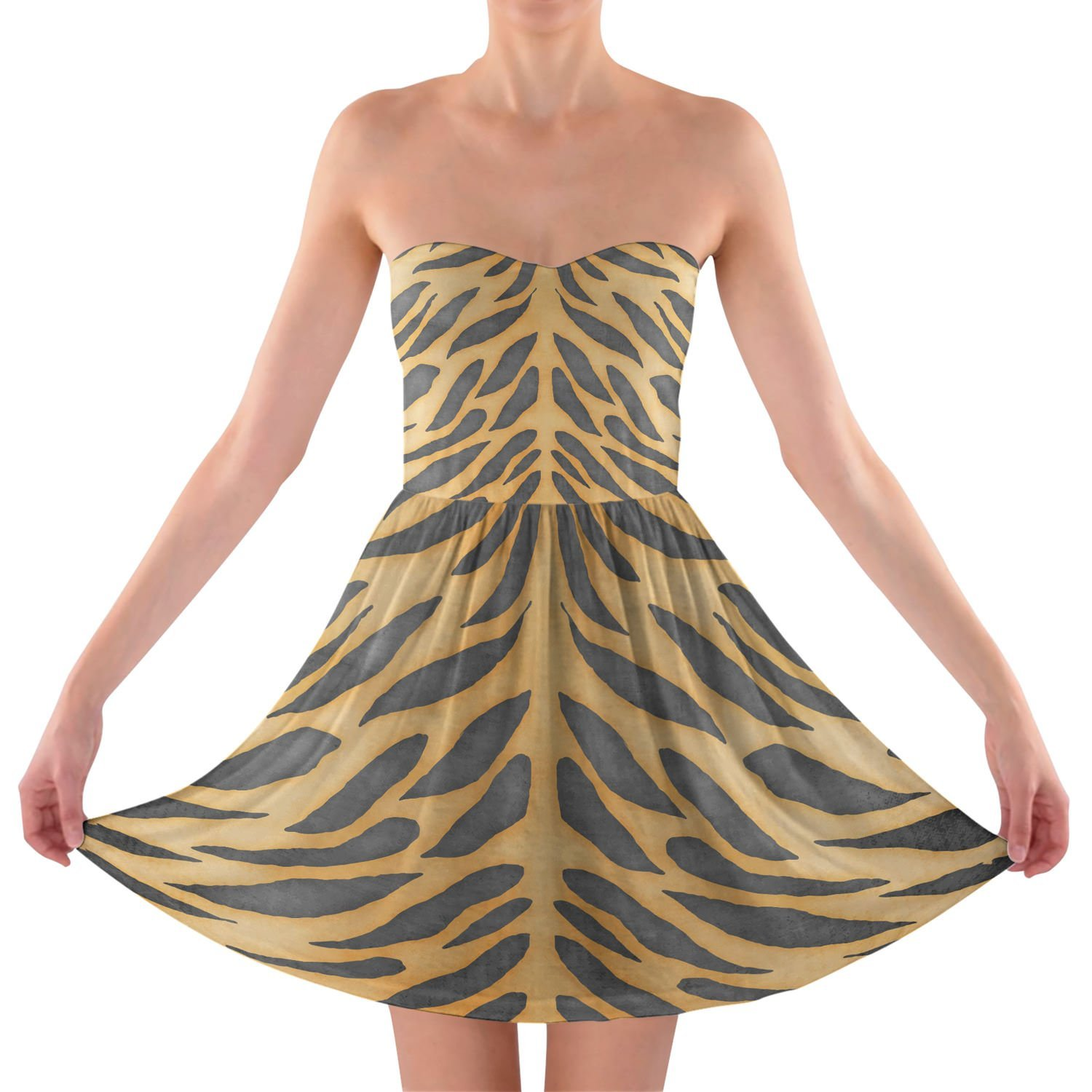 Tiger Print Strapless Bra Top Dress Trägerlos Sommerkleid XS-3XL