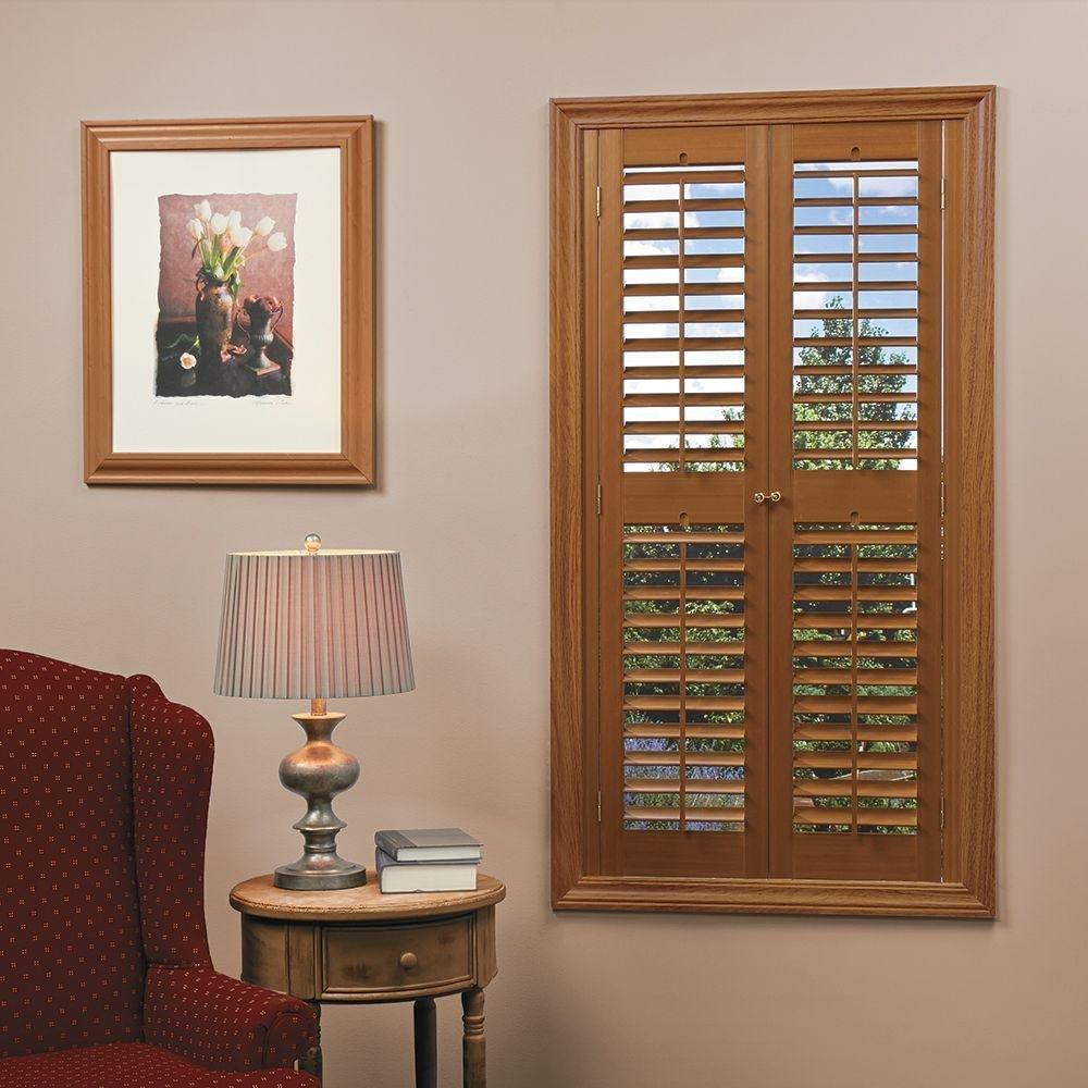 homeBASICS Plantation Faux Wood Oak Interior Shutter (Price Varies by Size)