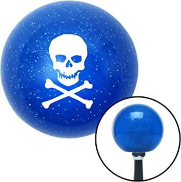 American Shifter 25235 Blue Metal Flake Shift Knob White Skull and Bones