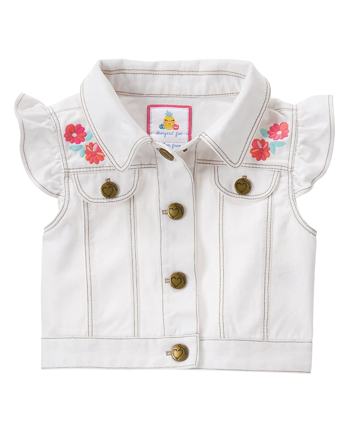 Gymboree Baby Girls Toddler White Woven Vest with Embroidery 140165335
