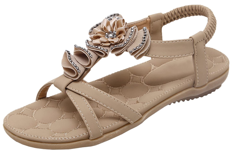 Beach Sandals by Bigtree Women Bohemian Flower Rhinestone Hollow Out Soft Elastic Sandals B071WRP15P 6 B(M) US|Beige