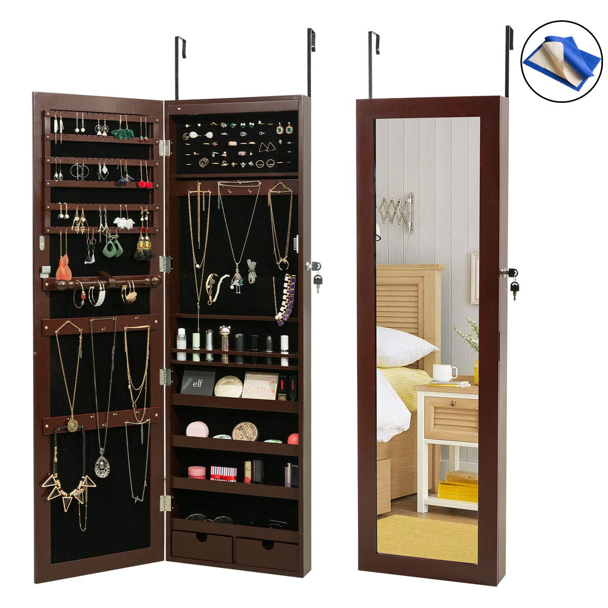 HollyHOME Jewelry Armoires LEDs Jewelry Cabinet Lockable Wall Door Mounted Organizer Storage with Mirror,Brown