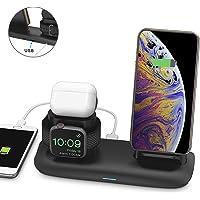 Bossgo Cargador inalámbrico, Estación de Carga Rápida Qi Inalámbrica 3 en 1 Soportes de Carga de para iPhone 11/11 Pro Max / X / XS Max / 8 Apple Watch Charger 5 4 3 2 1 Airpods 2