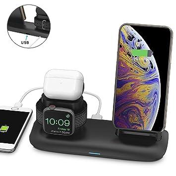 Bossgo Cargador inalámbrico, Estación de Carga Rápida Qi Inalámbrica 3 en 1 Soportes de Carga de para iPhone 11/11 Pro Max / X / XS Max / 8 Apple ...