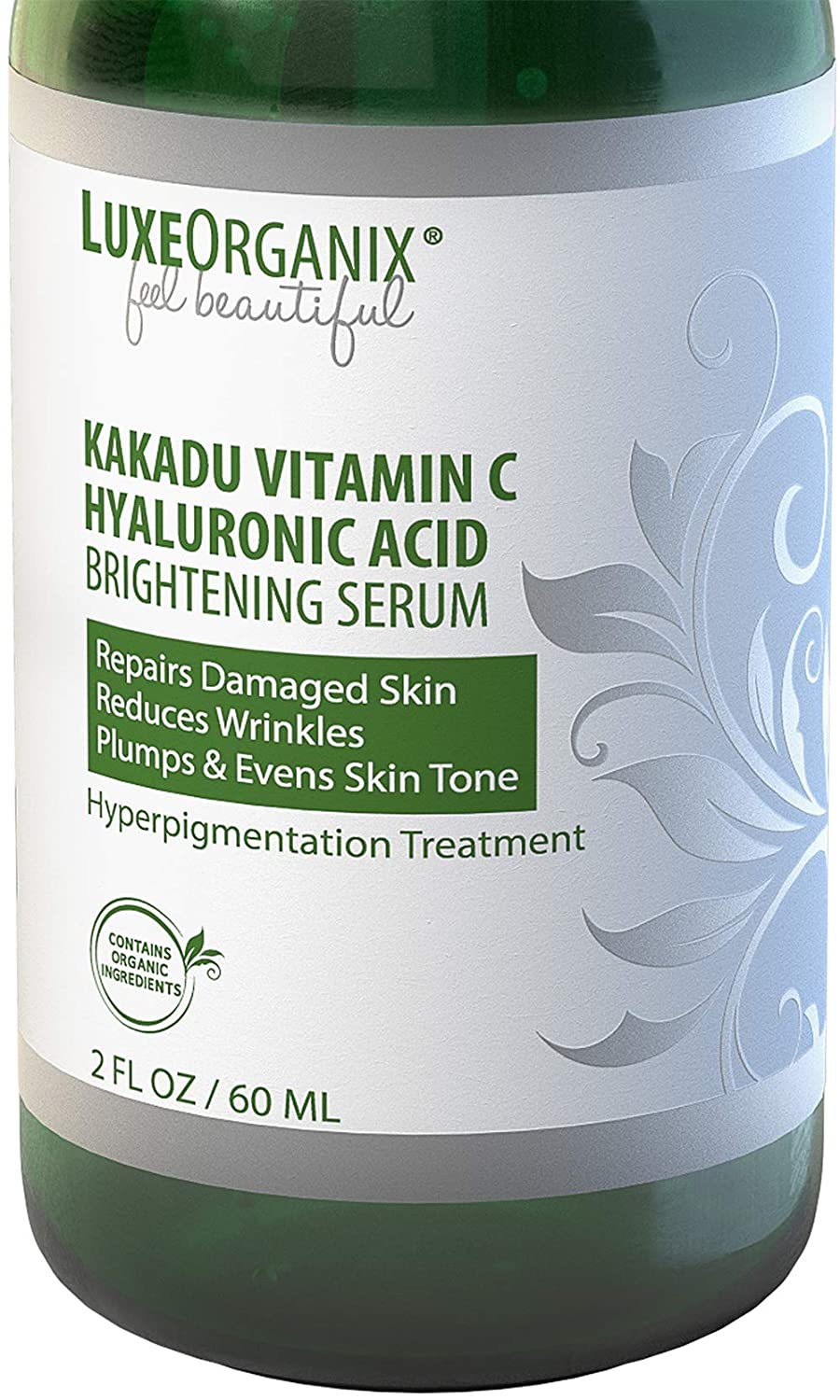 Kakadu Vitamin C Hyaluronic Acid Serum; (2 oz) Skin Brightening Treatment Lightens Dark Spots, Reduces Blemishes & Wrinkles. Hydrates & Absorbs Quickly for Visibly Improved Vibrant Skin. LuxeOrganix.