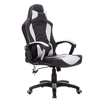 Homcom Reclining Office Massage Chair Racing Chair Recliner 6 Point Massage  High Back Heating Swivel