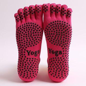 Audazic Completo Grip Cinco Dedos Cubre Antideslizante Yoga Calcetines Invierno Cálido algodón Calcetines Deporte Pilates Masaje Calcetines 2 Pares, ...