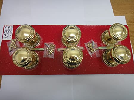 3 Three Pairs Of Homebase Georgian Mortice Round Rose Knobs Polished Brass