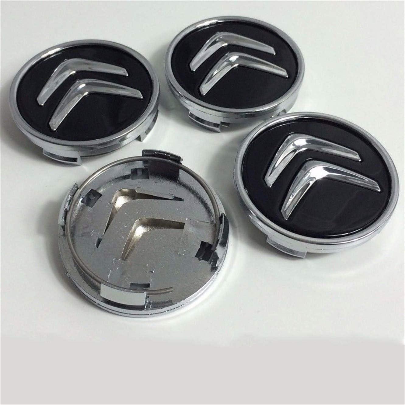 4PCS 60mm Wheel Center Hub Caps Cover Wheel Rim Logo Emblem for Citroen Black