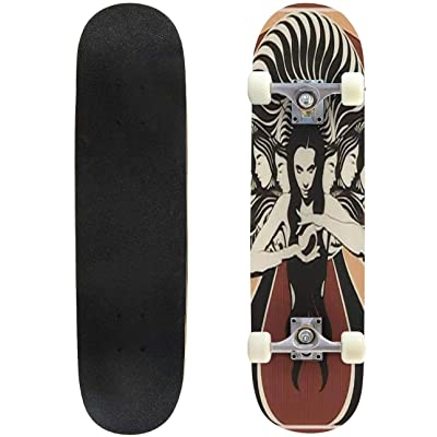 Classic Concave Skateboard Vector Hand Drawn Illustration of Witch with Crystal Ball and Surreal Longboard Maple Deck Extreme Sports and Outdoors Double Kick Trick for Beginners and Professionals : Sports & Outdoors