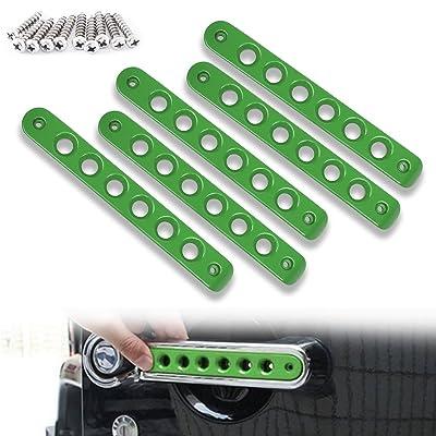 Opall Front Door & Back Door Aluminum Grab Handle Cover For 2007-2020 Jeep Wrangler JK & Unlimited 4 Door 5pcs/set (Green): Automotive