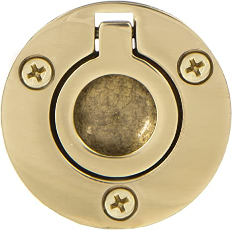 Flush Ring Pull Round 1-1//2 Brass Ultra Hardware 96408-UW