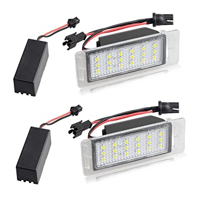 RUXIFEY LED License Plate Light Lamp with Error Free Resistor Compatible with Chevy Corvette Equinox Impala Volt Cadillac Buick, 6000K White: Automotive