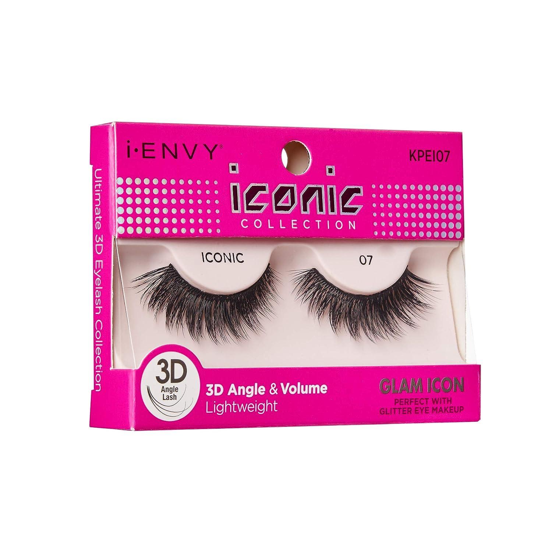 53efb93c69e Amazon.com : Kiss I Envy Iconic Collection Lashes #07 3D Angle & Volume  (Glam) : Beauty