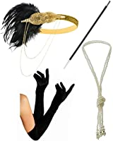 1920s Gatsby Headband Necklace Gloves Cigarette Holder Flapper Costume Accessories Set for Women