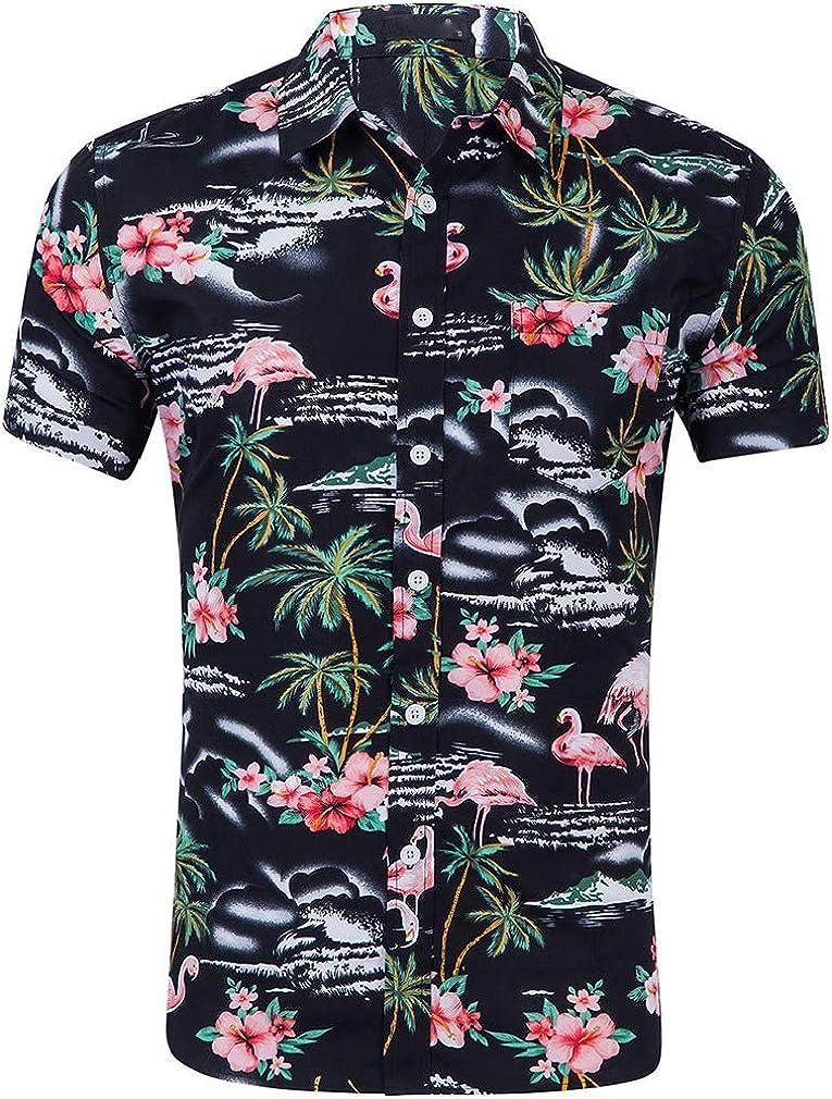 Abetteric Mens Short Sleeve Floral Hawaii Style Beachwear Dress Shirts