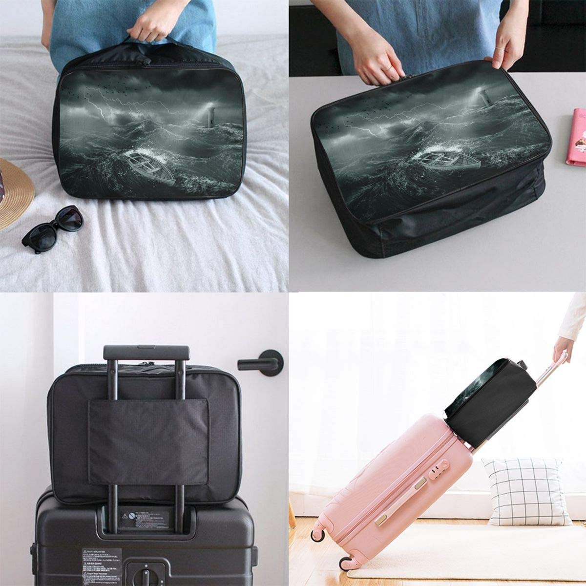 Travel Luggage Duffle Bag Lightweight Portable Handbag Sea Wave Lighthouse Pattern Large Capacity Waterproof Foldable Storage Tote