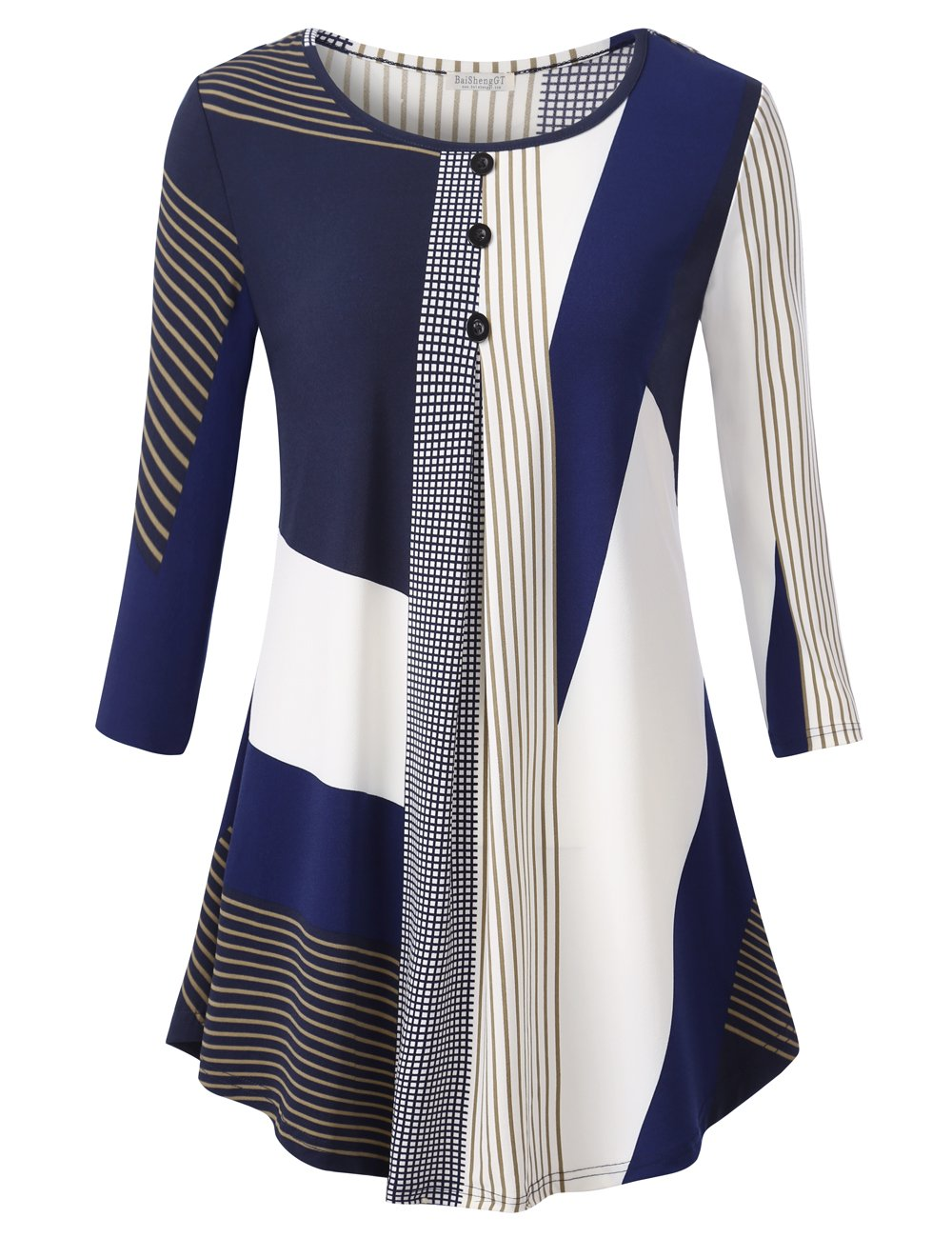 BAISHENGGT Women's 3/4 Sleeve Buttons Pleated Front Tunic Top Modern Block XL by BAISHENGGT
