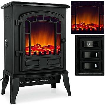 Elektro Kamin Mit Heizung Und Kaminfeuer Effekt 2000W Schwarz / Weiß  Flammeneffekt Flammenambiente Ofen