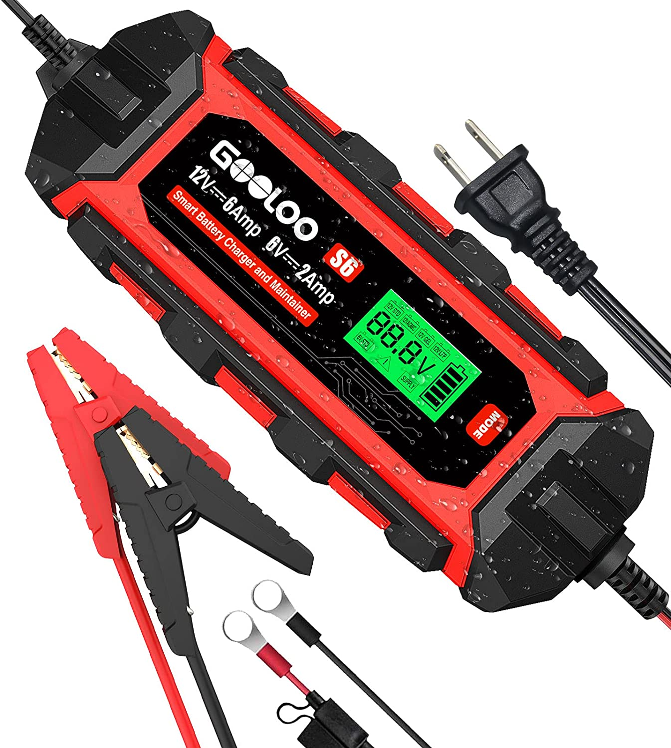 Gooloo S6 12V 6 Amp Car Smart Battery Charger and Maintainer $39.49 Coupon