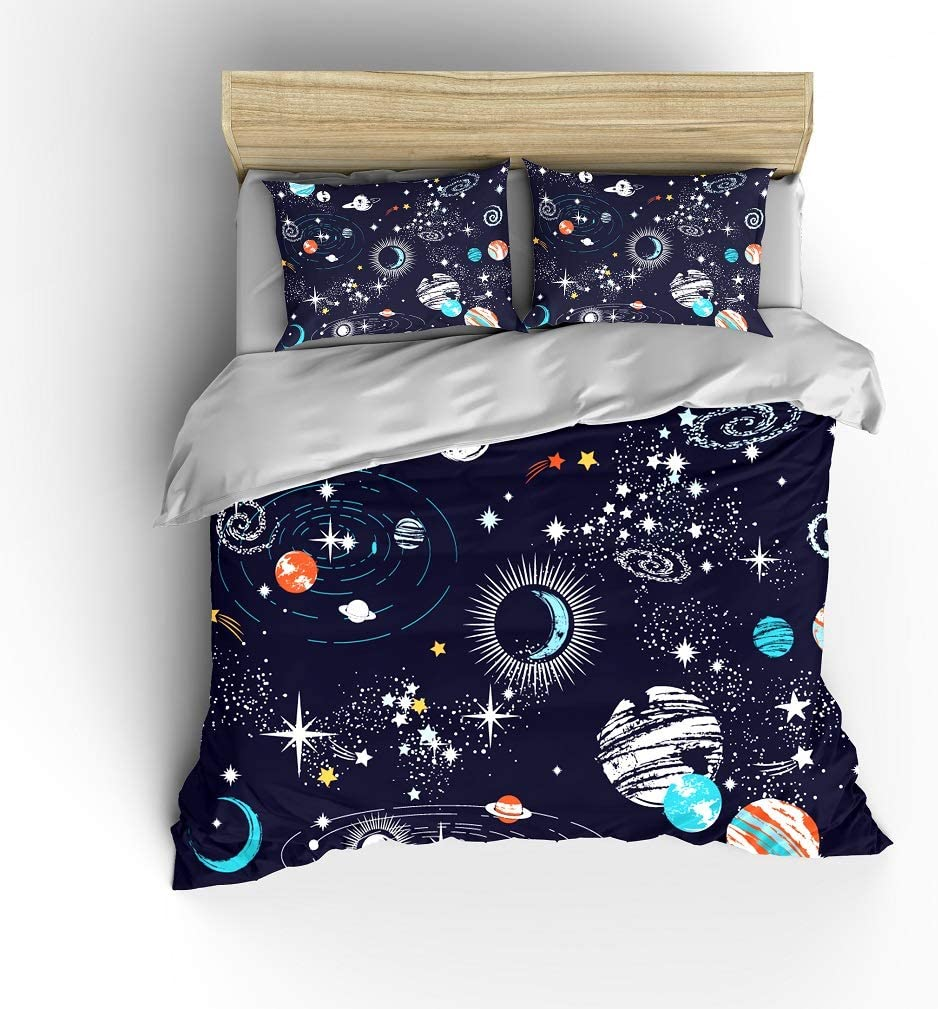 Twin Full Pink Hearts Printed Sheet Set Galaxy Stars /& Planets Kids Sheet Sets