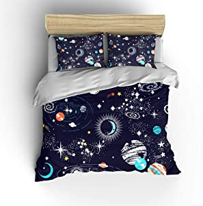 SHOMPE Galaxy Space Bedding Sets Kids Queen Size,Navy Blue Universe Adventure Stars Duvet Cover Sets with 2 Pillowcases for Boys Girls Teens Bedroom,NO Comforter
