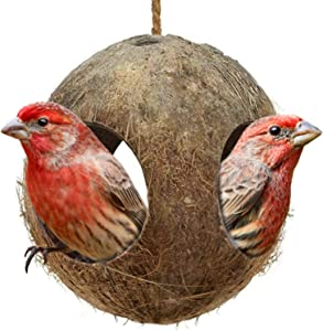 SunGrow House Finch Home, 2.4 x 4.4-Inches, 3-Hole Coco Bird Hut, Perfect for Hiding Millet and Nesting, Birdhouse Makes for Mini Condo, Home Decor or Hanging Food Dispenser, 1-pc
