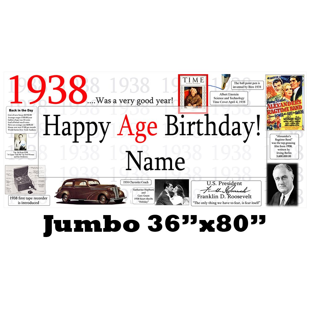 1938 80th Birthday Jumbo Personalized Banner by Partypro