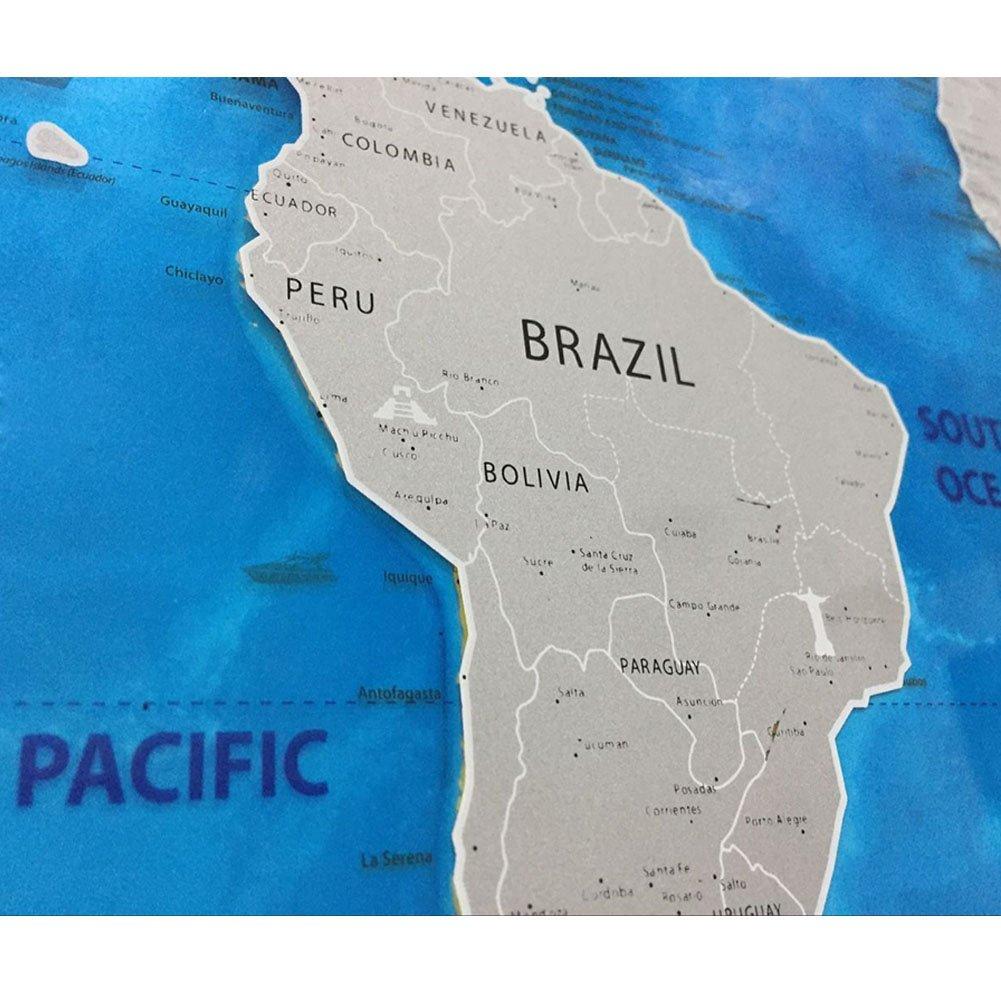 Mundo Scratch Off viajes Mapa - SUMGOTT personalizado del viajero regalo azul Edition con un rascador: Amazon.es: Oficina y papelería